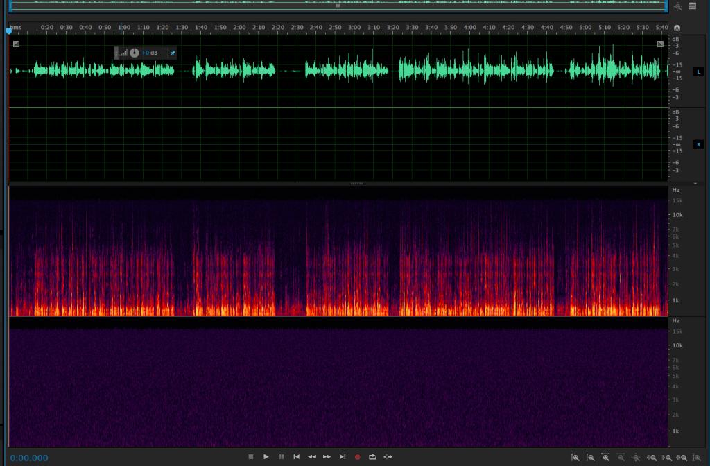 Podemos ver como esta pista de audio contiene mucho ruido de fondo (la parte morada)