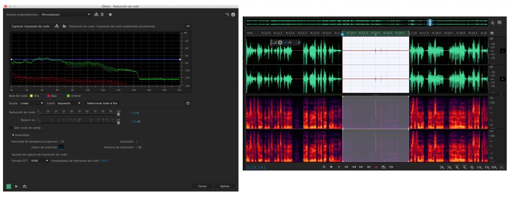 Nos muestra el ruido capturado en otro analizador de audio. Éstas serán las frecuencias que serán eliminadas de la grabación. Para la voz se recomiendan éstos parámetros. La velocidad de decadencia espectral se refiere a la cantidad de filtración que se le aplicará. Cuanto más bajo más agresivo el filtro.
