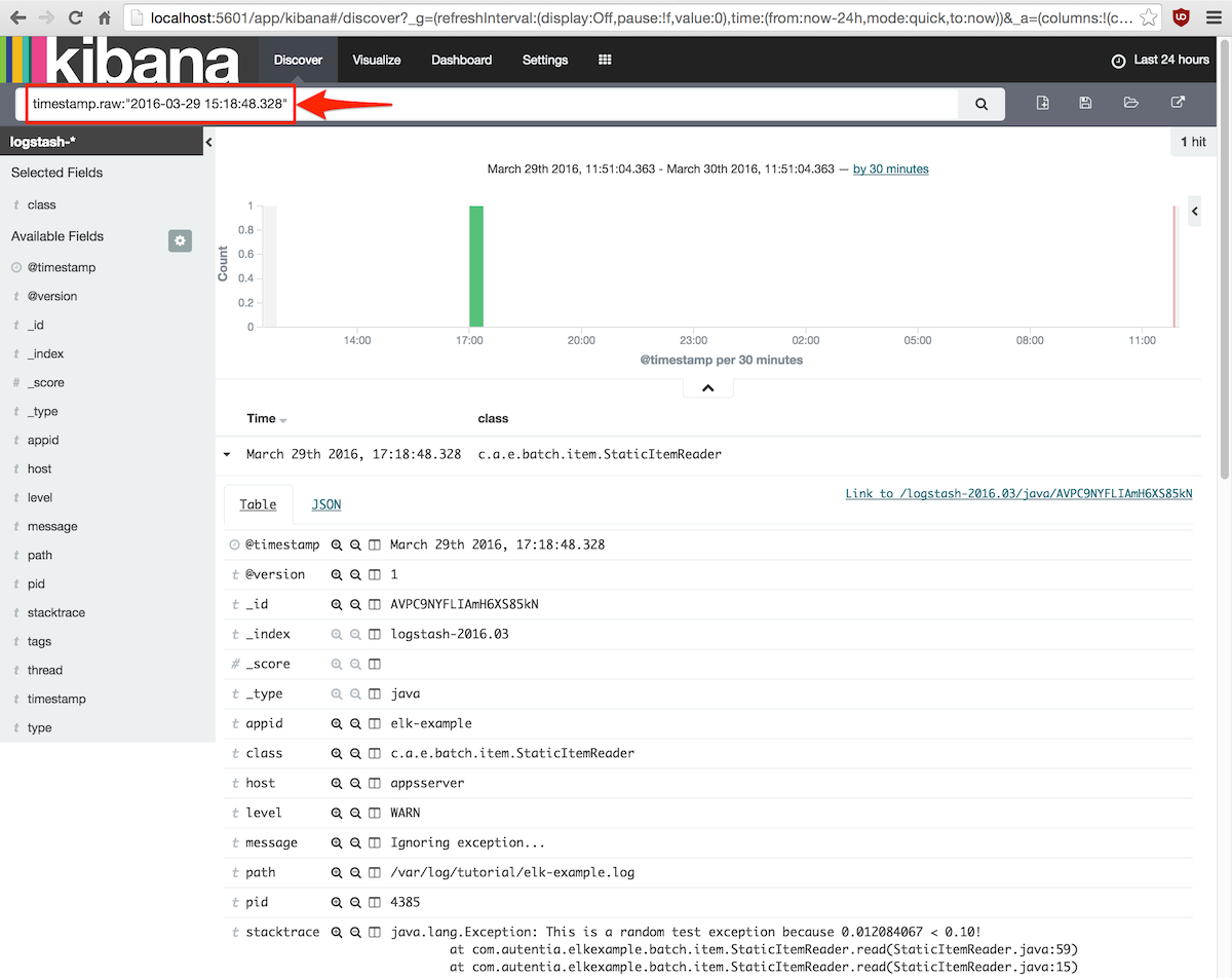 búsqueda evento por fecha kibana