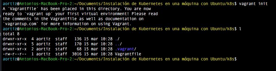 Consola comando vagrant init