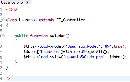 controller CodeIgniter ejemplo