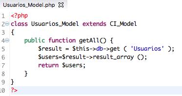 modelo CodeIgniter ejemplo