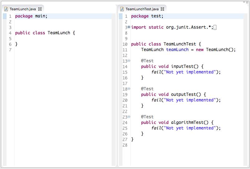 Forma inicial de los tests, con los tres bloques de código principales