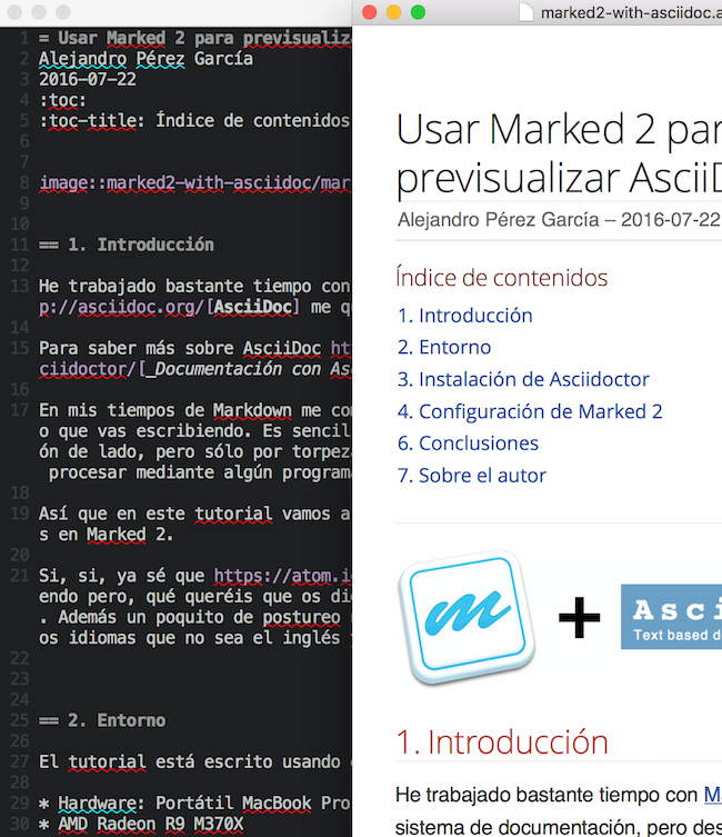 Vim AsciiDoc and preview with Marked 2