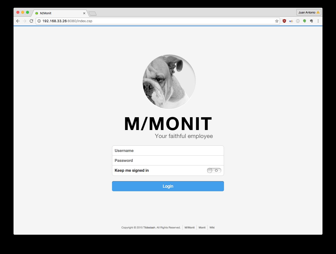 M/Monit login page