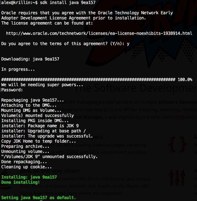 SdkMan install java 9