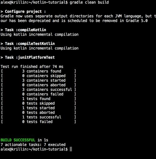 Gradle Kotlin build tests success