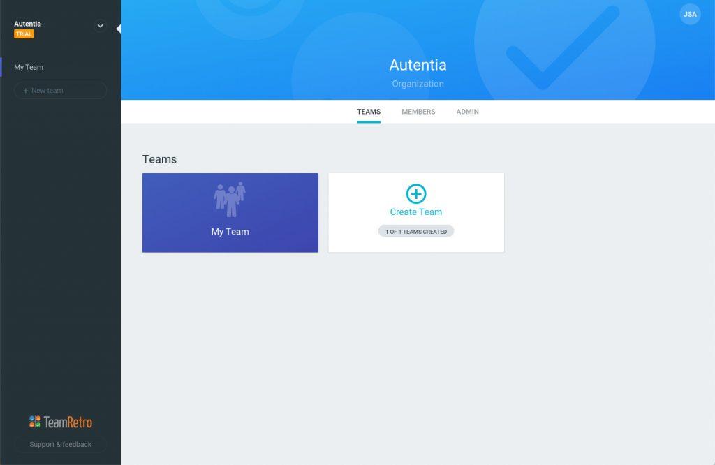 imagen en la que se puede ver las opciones para crear una organización y sus equipos
