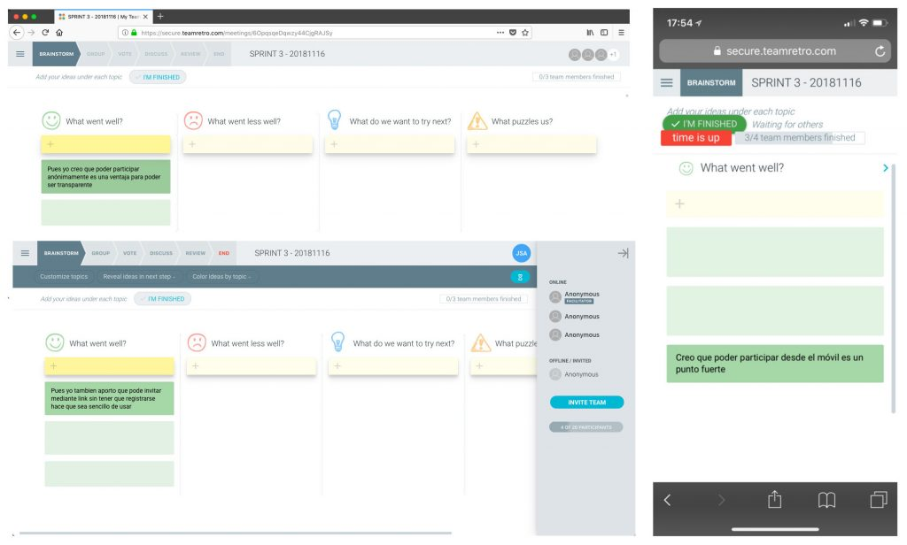 Se muestra una imagen de varias pantallas con la aplicación para ver como se muestran las ideas de forma colaborativa