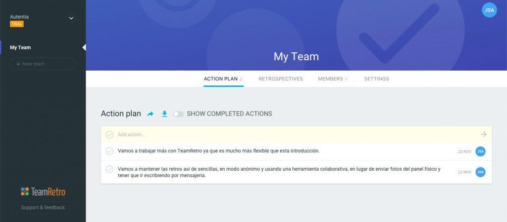 Imagen que muestra el plan de acción actual para el equipo