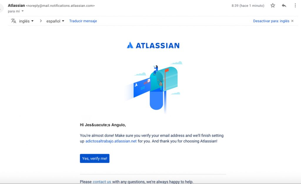 Imagen con el correo de confirmación de nuestra cuenta Atlassian.
