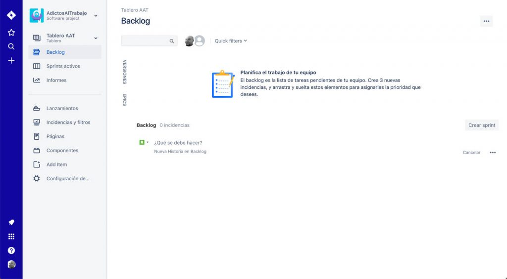 Imagen de la página principal del proyecto por defecto creado en JIRA
