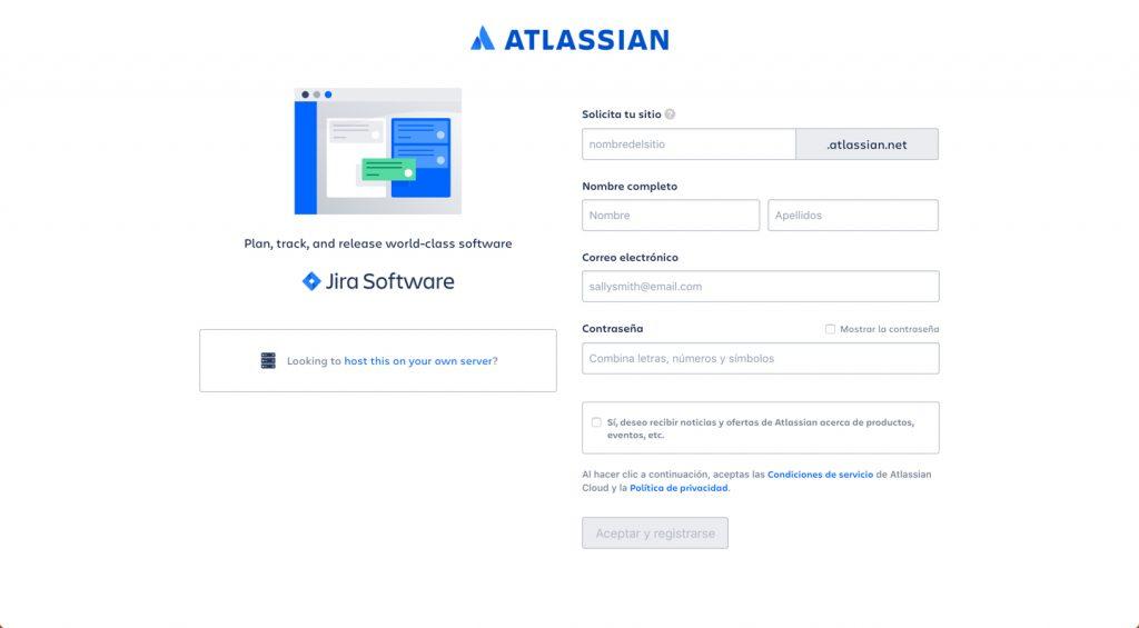 Imagen del formulario de registro de usuario en portar Atlassian