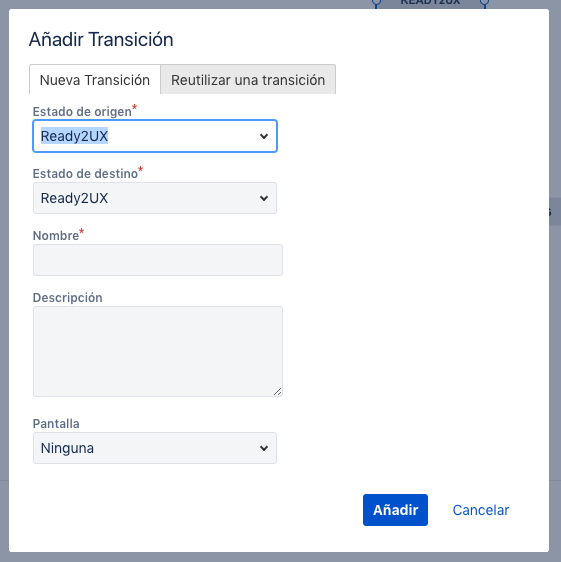Imagen que muestra el formulario para añadir una nueva transición en nuestro workflow