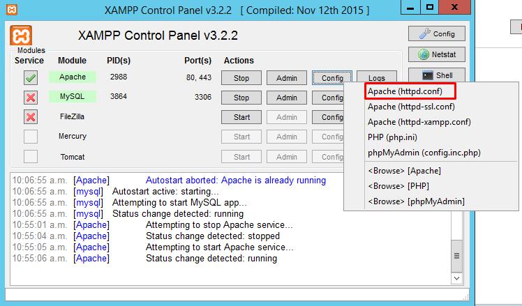 XAMPP Configuracion httpd.conf