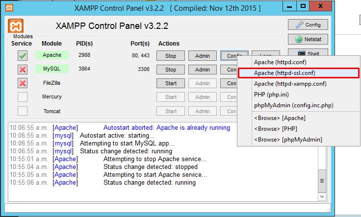 XAMPP Configuracion httpd-ssl.conf