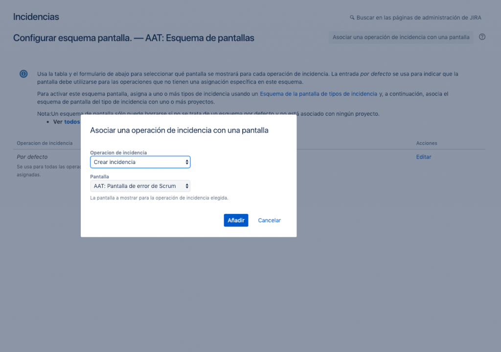 Imagen de una modal de JIRA donde asociar una operación a una pantalla