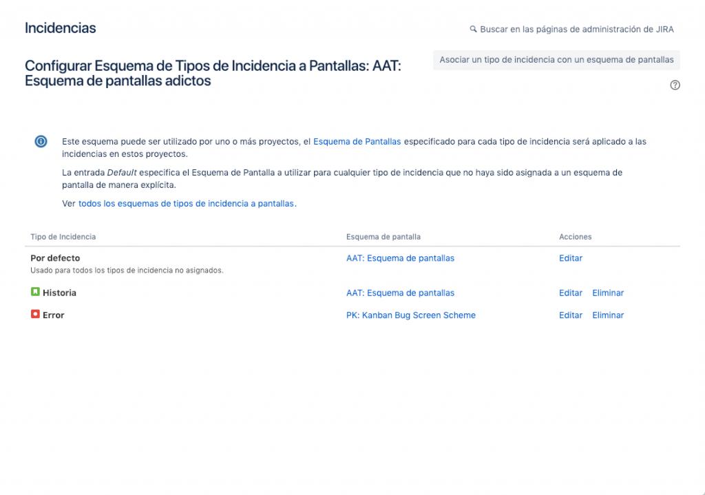 Lista de JIRA donde se ven diferentes issue types con su esquema de pantallas asociado