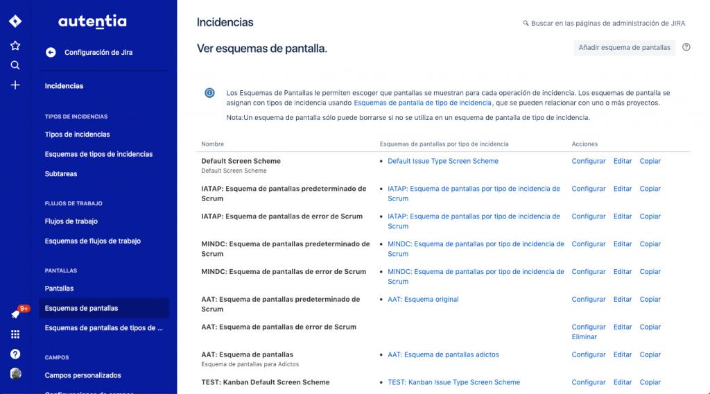 Imagen de la lista de esquemas de pantalla de JIRA