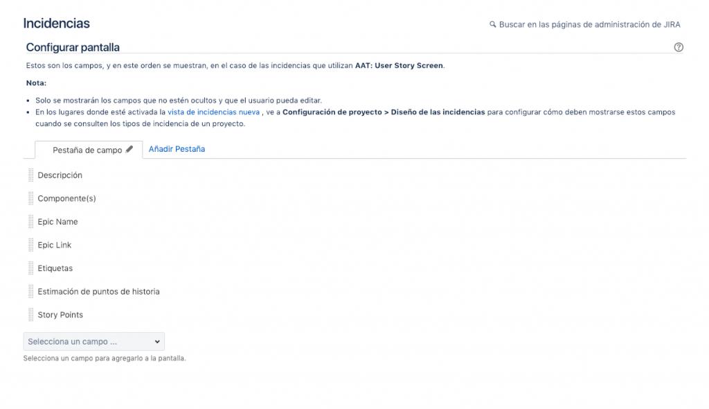 Imagen que muestra la lista de nuevos campos para una pantalla de JIRA