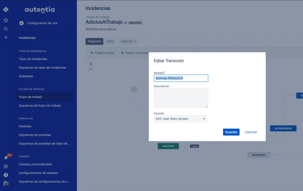 Imagen que muestra como añadir una pantalla a una transición del workflow