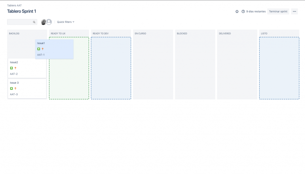Imagen que muestra la transición de una issue entre las columnas de nuestro panel.