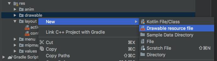 Creación de un drawable resource file