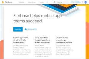 Página de inicio de la consola de Firebase