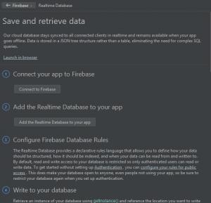 Realtime Database en el asistente de Firebase