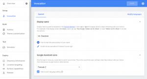 Panel de Invocation en la consola de Actions on Google