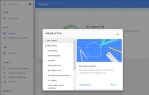 Crear una acción en la consola de Actions on Google