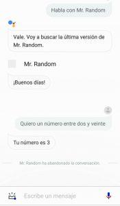 Ejecucción de Mr. Random en un teléfono con Android