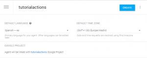 Crear proyecto en Dialogflow