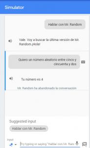 Ejecucción de Mr. Random en el simulador de la consola de Actions on Google