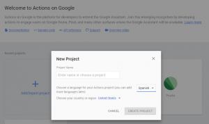 Nuevo proyecto en Actions on Google
