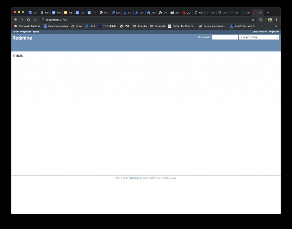 Usamos la opción WEB PREVIEW de Kitematic para acceder a la URL de Redmine a través del navegador.