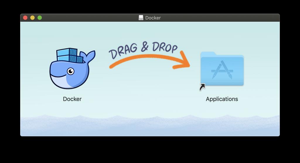 Para finalizar la instalación de Docker, arrastramos para añadir a aplicaciones