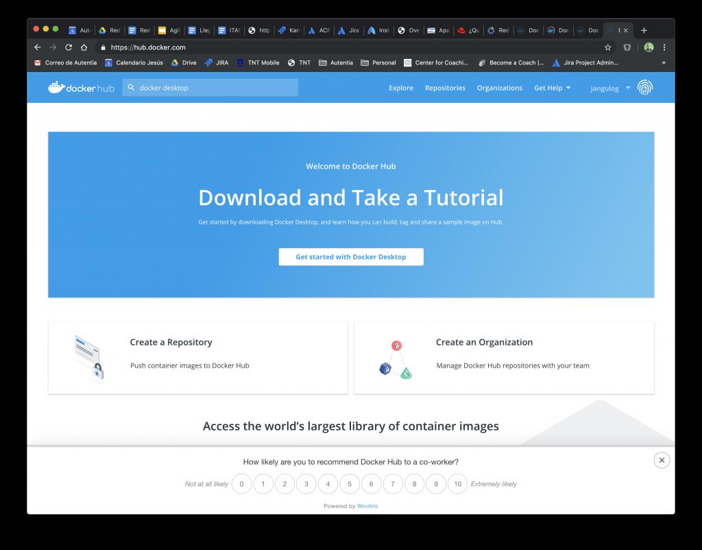 Página de acceso a la documentación y descargas de Docker Desktop