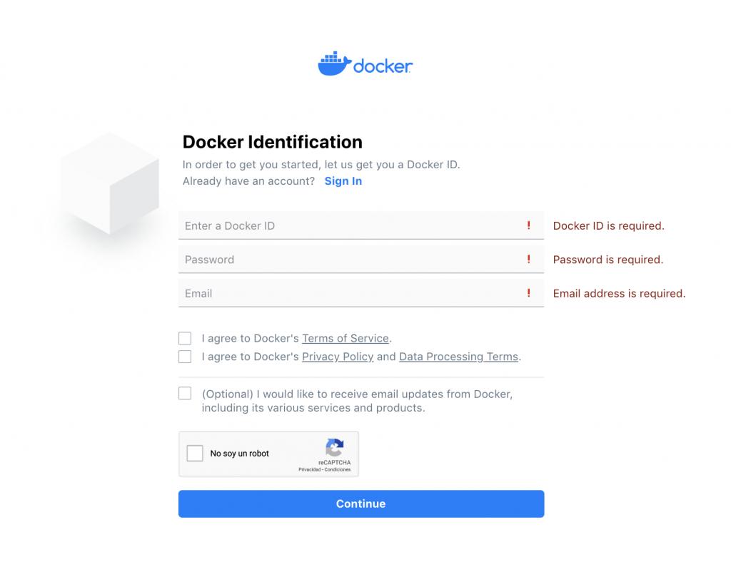 DockerHub página de registro