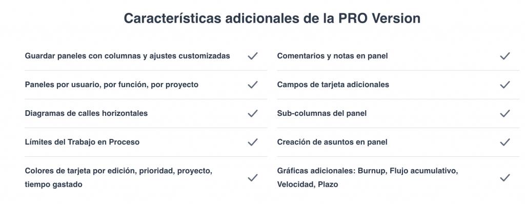 Características de la versión PRO de Redmine