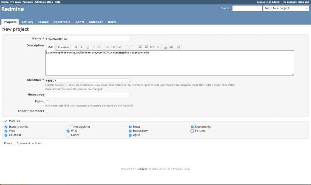 Imagen que muestra la pantalla de creación de un proyecto en Redmine