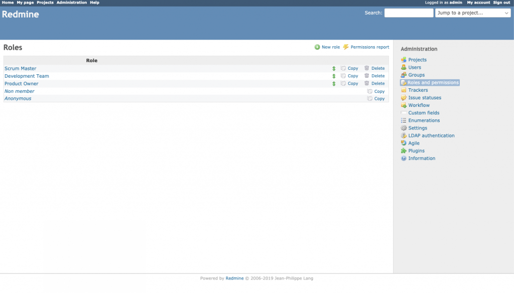 Imagen que muestra el listado de roles disponibles en Redmine