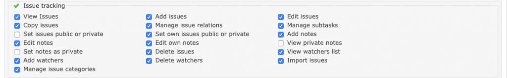 Imagen que muestra los detalles de los permisos de seguimiento de tareas de Redmine