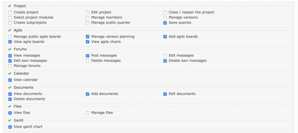 Imagen que muestra el detalle de los permisos de Proyecto, Agile, Forums, Calendar, Documents, Files y Gantt de Redmine