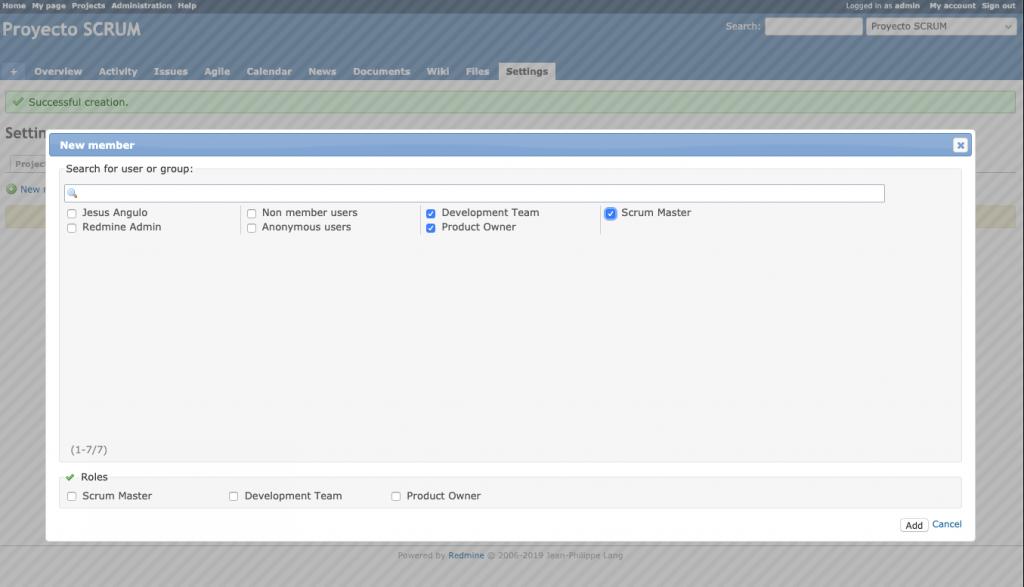Pantalla que muestra como añadir los grupos de usuarios que pueden acceder a un proyecto Redmine.
