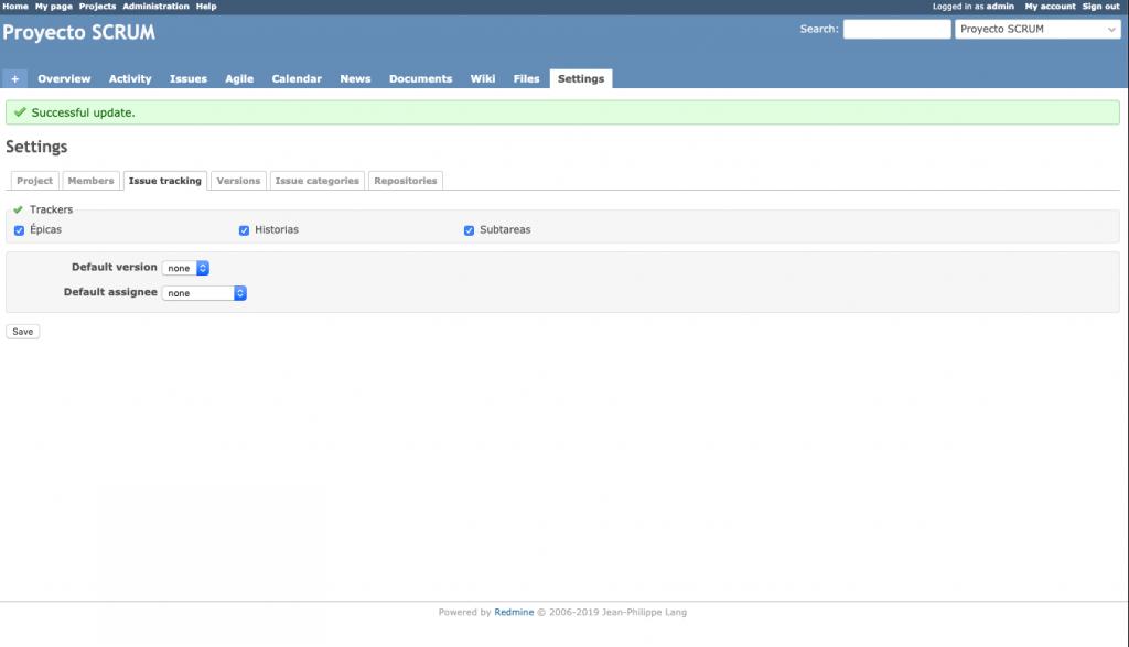 Imagen que muestra la configuración por defecto para los tipos de tareas de un proyecto Redmine.