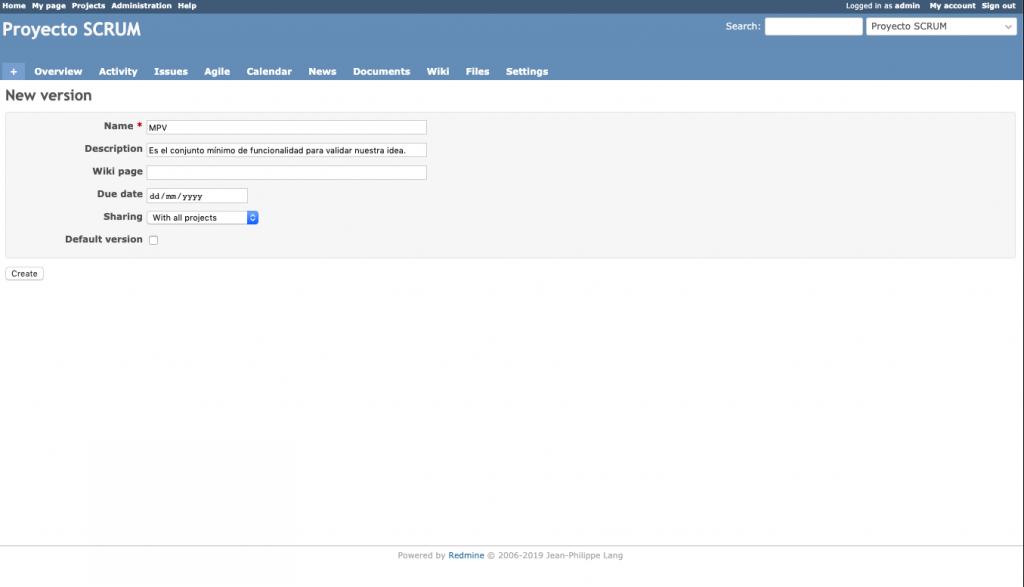Imagen que muestra el detalle de configuración de una versión de tipo MVP en Redmnine.
