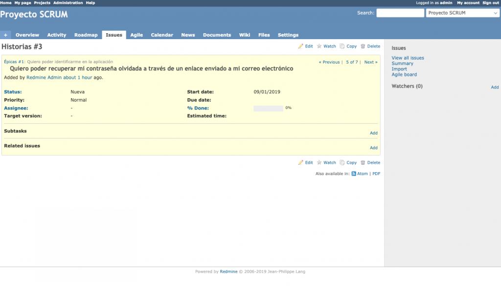 Imagen que muestra el detalle de una issue de tipo subtarea en Redmine