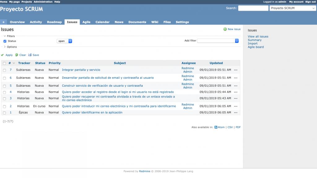Imagen que muestra la vista de issues en un proyecto Redmine