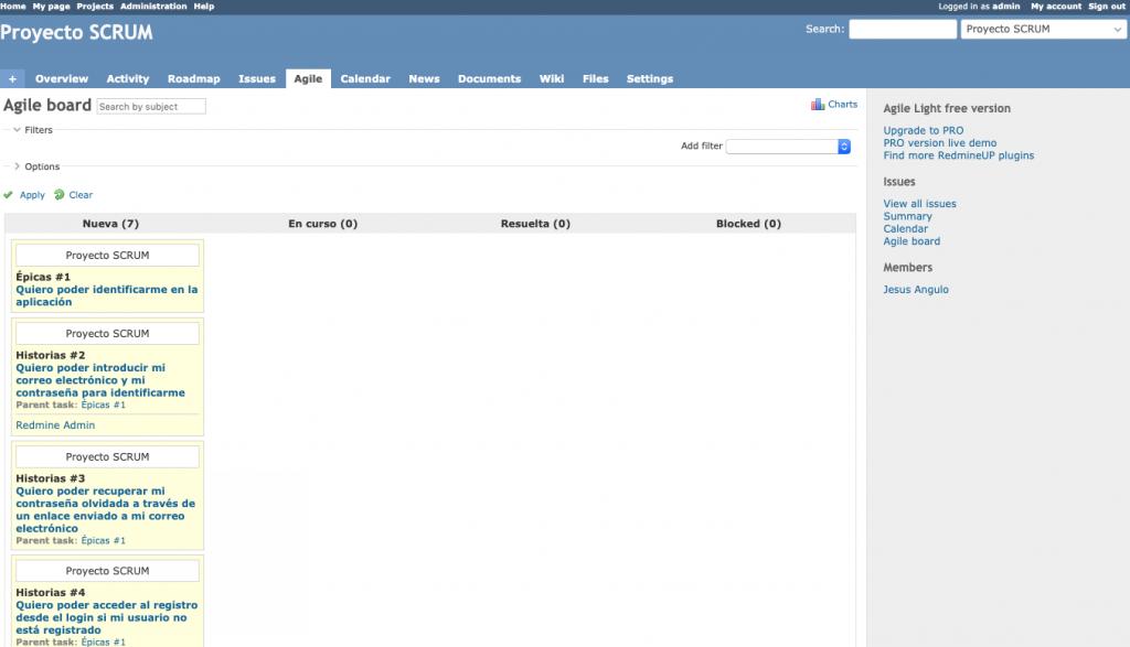 Imagen que muestra la vista del panel ágil de tareas de un proyecto Redmine